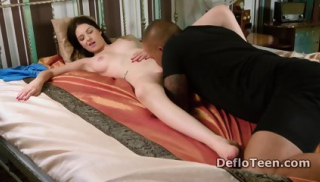 Shaved virgin Anna Italyanka deflowers herself on hard cock
