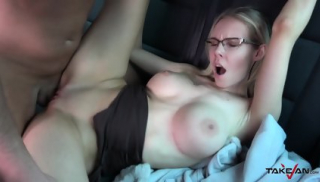 Cutie With Glasses Gets Creampied In Van