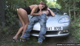 Slut Banged On Car