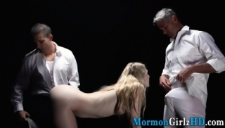 Missionary takes two dicks