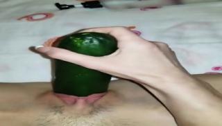 Tenn Fucking my self with a cucumber HUGE squirt