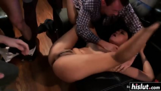 Cock Thirsty Whore Fucked In A Gangbang