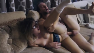 Teen With Glasses Receives Creampie